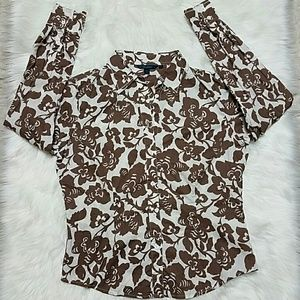 Boden brown floral button top size 16
